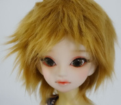 """6-7 """"16cm 7-8"""" (18-19CM) BJD Doll Fur and Feather ST Gold Brown Hair Wig For 1/6 1/4 YOSD LUTS-KID MSD DOC LATI-BLUE"""