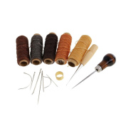 Fityle 15 Pieces/Set Leather Waxed Thread Sewing Needles Stitching Awl DIY Leather Craft Cloth Tent Scratch Awl Sewing Repair Tool Pin Punching Hole Maker Repair Tool Kit