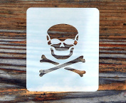 Skull and Crossbones Design Face Painting Stencil 7cm x 6cm 190micron Washable Reusable Mylar