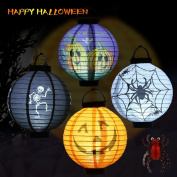 U-Kiss Halloween Lanterns With LED Light Party Decroation Hangging Paper Pumpkin Lantern and Spider Toy Holiday Decor Scray Light