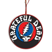 Grateful Dead Collectible Christmas Ornament - Gift Boxed Porcelain Disc - Printed On Both Sides