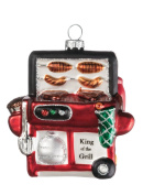 """Sullivans 9.5cm Frosted Glass """"King of the Grill"""" Ornament"""