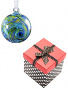 Friendship Ball — Blue, Yellow and Green Coloured Glass with Organza Ribbon and Polka Dot / Red Top Gift Box