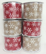 4 Rolls Assorted Patterns Classic Christmas Decorations Ribbons (6.4cm W x 2.7m Each) - Red/Khaki