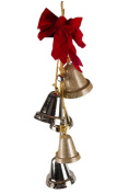 Gold Christmas Door Hanging 5-Bell Decoration With Red Bow