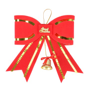 Sparking Red Bow with Bell Christmas Tree Yard Art Decoration