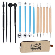 JamHoo 13 Pieces Ball Stylus Tools Dotting Sculpting Modelling Tools Clay Ceramics Pottery Carving Modelling Tool Embossing Sculpting Set with Storage Case