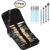 WOWENWO 31 Pieces Carving Tool Set,22 Pieces Wooden Pottery Sculpting Tools,5 Pieces Ceramic Clay Indentation Tool,4 Pieces Double-ended Metal Ball Tools with Roll Up Pouch Case