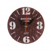 DIGOOD Vintage Style Silent Antique Wood Wall Clock for Home Kitchen Office