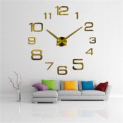 DIY Wall Clock 3D Frameless Large Modern Home Decor Sticker Gold Mirror For Living Room Bedroom Office Kitchen Bar Large Number Clock Plate