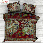 NANDNANDINI TEXTILE - Christmas Decorative Tree Of Life Indian Decorative Bedroom Decor, Home Decor, Coverlet, Comforter, Indian Quilt, Bohemian Bedspread, Bohemian Bedding, Indian Bedsheet, Throw Blankets, Cotton Tapestry Mandala Duvet Cover Quilt Cover