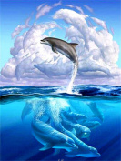 DIY 5D Diamond Painting by Number Kits, Full Drill Crystal Rhinestone Diamond Embroidery Paintings Pictures Arts Craft for Home Wall Decor, Jumping Dolphin