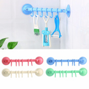 Bathroom Kitchen Utensil Powerful Vacuum Suction Cup Hanger With 6 Hooks
