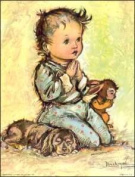 Little Boy Praying with Dog and Bunny Paper Tole 3D Decoupage Craft Kit size 6x8 1905
