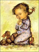 Little Girl Praying with Bunny Paper Tole 3D Decoupage Craft Kit size 6x8 1904