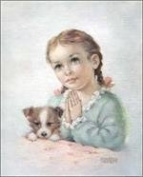 A Child's Prayer Little Girl Praying with Puppy Paper Tole 3D Decoupage Craft Kit size 6x8 10612