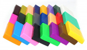 24 Largh Blocks DIY Colourful Fimo Polymer Clay Oven Baked Modelling Moulding for Kids Craft with Modelling Tools, Tutorials and Accessories,1kg