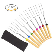 Set of 8 Roasting Sticks, Marshmallow Roasting Sticks 80cm Extendable Forks for BBQ at the Campfire