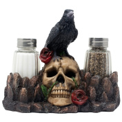 Bone Chilling Raven on Human Skull Salt and Pepper Shaker Set with Decorative Display Stand Figurine for Scary Halloween Decorations or Mediaeval & Gothic Kitchen Table Decor As Spooky Fantasy Gifts