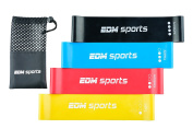 Premium Resistance Loop Bands Set - 4 improved, wider and stronger home or gym exercise bands with carrying bag - FREE Video Workout Guide - LIFETIME WARRANTY