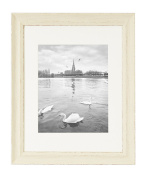 Golden State Art, Shabby Chic Style, 11x 14 Wall Picture Frame with Ivory Mat for 8x 10 Picture and Real Glass, 3.2cm Wide, Colour