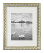 Golden State Art, Ornate Finish Style, 11x 14 Wall Picture Frame with Ivory Mat for 8x 10 Picture and Real Glass, 3.8cm wide, Colour