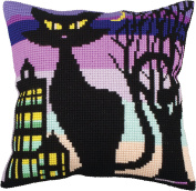 Collection D'art Stamped Needlepoint Cushion Kit 40X40cm-Black Grace Ii