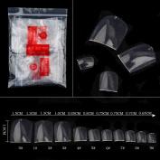 Alonea 500 Pcs Fake Artificial Nails Sticker Natural Acrylic False Toe Nails Tips