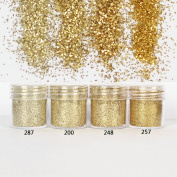 NICOLE DIARY 4 Boxes Nail Art Glitter Powder Champagne Gold Hexagon Ultra-thin Mixed Paillette Nail Sequins Manicure DIY Decoration