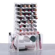 Ikee Design All in 1 Clear Premium Acrylic Lipstick Organiser Makeup Brush Holder for Lipstick Cosmetics With Removable Side Compartment