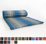 Leewadee Roll Up Thai Mattress, 79x 30inches x 5.1cm , Kapok Fabric, Blue, Premium Double Stitched