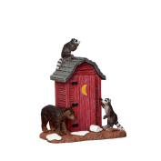 Village Collection Outhouse Marauders Raccoons and Bear #24492, Two raccoons and a bear terrorise an outhouse By Lemax