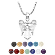 JSDDE 7 Chakra Reiki Healing Natural Crystal Stone Aromatherapy Lava Rock Stone Essential Oil Diffuser Necklace Hollow Pendant Necklace