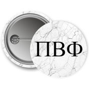 Pi Beta Phi Light Marble with Black Letters 5.7cm Button