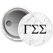 Gamma Sigma Sigma Light Marble with Black Letters 5.7cm Button GSS