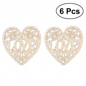 LUOEM 6PCS Wooden Crafts Slices DIY Crafting Embellishment for Christmas Tree Hanging Wedding