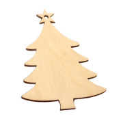 C-Pioneer 10pcs Christmas Tree Shaped Wooden Embellishments Wood Craft Supplies with String for Christmas Wedding Painting
