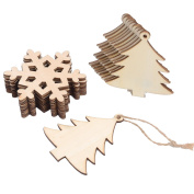 Sumind 20 Pieces Wooden Christmas Tree and Snowflake Shaped Embellishments Hanging Ornaments Decoration with 20 Pieces Twines