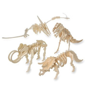 Unfinished Punch and Slot Wood Dinosaur Assortment Pack of 12