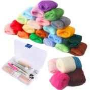 COCODE Needle Felting Starter Kit with 36 Colours Wool Felting Supplies Fibre Wool Yarn Roving for Hand Spinning DIY Craft Projects