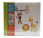 Tapestry Baby Zoo Animals Themed, Baby Scrapbook and Photo Album suitable for 30cm x 30cm inserts, includes 20 Pre-Designed Scrapbook Inserts.