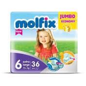 """Nappies Size 15cm Extra Large"""" Molfix Baby Nappies Jumbo Pack x 36 nappies"""