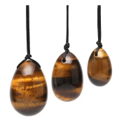 JSDDE Set of 3 Drilled Yoni Eggs Natrual Tiger Eye Stone Muscles Excercise Massage Stones for Women Gift, 3 Sizes