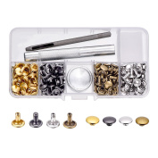 BBTO 100 Set Leather Rivets Double Cap Rivets with Fixing Tool Kit for Leather Craft Repairing Decoration, 4 Colour
