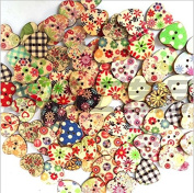200 Pieces Assorted Pattern Wooden Heart Painting Buttons, Magnolora 2 Holes Craft Resin Buttons Favourite Findings Basic Buttons for Sewing, Arts, DIY Crafts, Decoration and Fasteners Scrapbooking