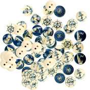 Fityle 100 Pieces Assorted Nautical Wooden 2 Holes Buttons for Sewing Crafts Scrapbooking 25mm
