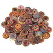 Decorative Buttons for Crafts 2.5cm ,100Pcs Vintage Wood Buttons with 2 Holes for DIY Sewing Craft Decorative,Mixed Pattern