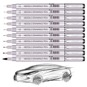 Artist Fineliner Ink Multiliner Pens Micro-Line Ultra-Fine Point Ink Pen Set, Black,10/Pack;Professional Technical Writing Drawing Pens - Artist Illustration, Anime, Manga, Art, Drawing,Sketching