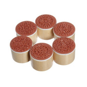 6Pcs Vintage Style Wooden Round Stamp with Floral Design Stamp Lace Series Bobury