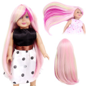 STfantasy American Girl Doll Wigs Long Straight Ombre Pink Highlight Yellow Hair for 46cm Baby Doll